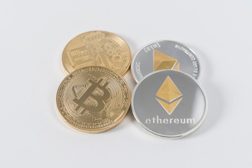 Bitcoin and ethereum coins.